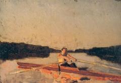 Sketch of Max Schmitt in a Single Scull