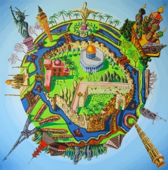 Jerusalem center of the world naive painting