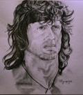 Portrait of Sly - Rambo  by Christos Tziortzis Tattoo Artist