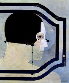 Portrait Of A Gentleman Wearing A Brown Helmet