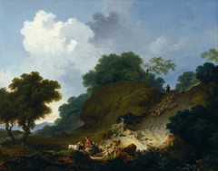 Landscape with Shepherds and Flock of Sheep