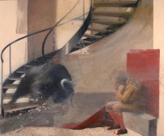 Bull coming down the stairs