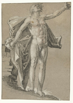 Staand mannelijk naakt met zwevende draperie